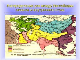 Распределение рек между бассейнами океанов и внутреннего стока Северный Ледов