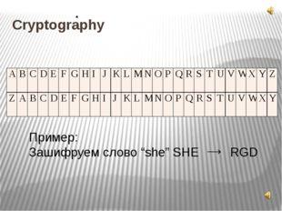 """Cryptography Пример: Зашифруем слово """"she"""" SHE RGD A B C D E F G H I J K L M"""