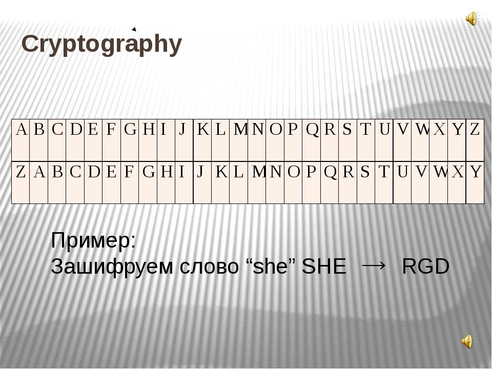 """Cryptography Пример: Зашифруем слово """"she"""" SHE RGD A B C D E F G H I J K L M..."""