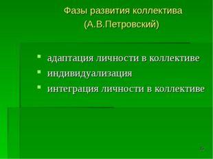 * Фазы развития коллектива (А.В.Петровский) адаптация личности в коллективе и