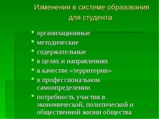 * Изменения в системе образования для студента организационные методические с