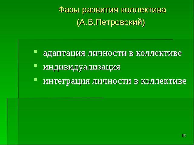 * Фазы развития коллектива (А.В.Петровский) адаптация личности в коллективе и...