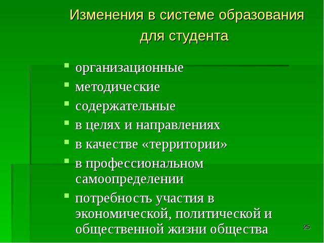 * Изменения в системе образования для студента организационные методические с...