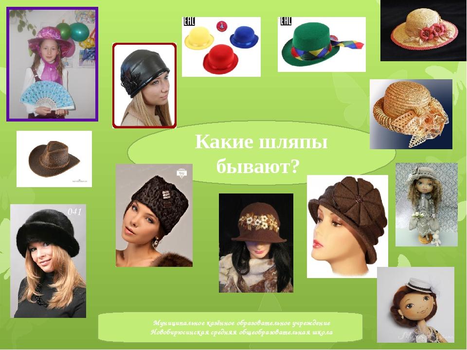 Какие шляпы бывают? Муниципальное казённое образовательное учреждение Новобир...