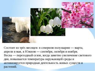 Состоит из трёхмесяцев: всеверном полушарии—марта,апреляимая, вЮжном