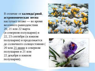 В отличие откаленда́рной, астрономическая весна наступает позже— во время
