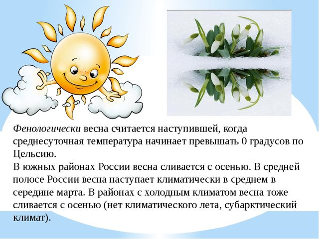 Фенологическивесна считается наступившей, когда среднесуточная температура н...