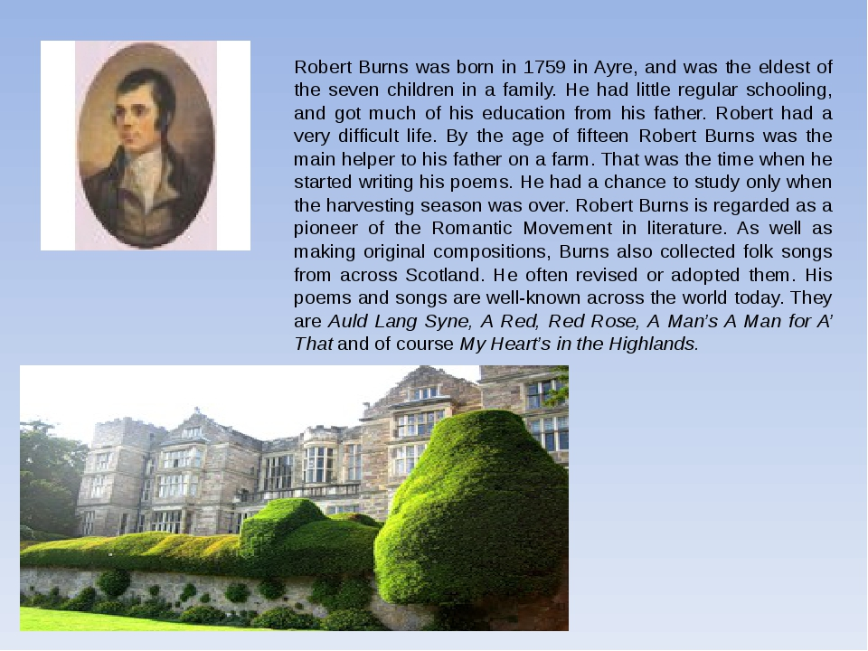 Robert Burns was born in 1759 in Ayre, and was the eldest of the seven childr...