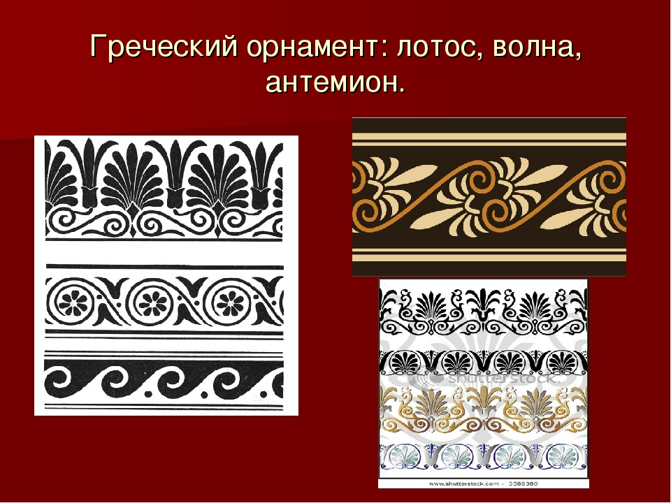 Греческий орнамент: лотос, волна, антемион.