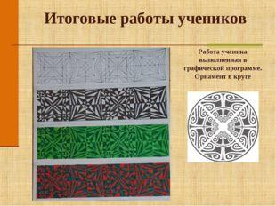 Итоговые работы учеников Работа ученика выполненная в графической программе.