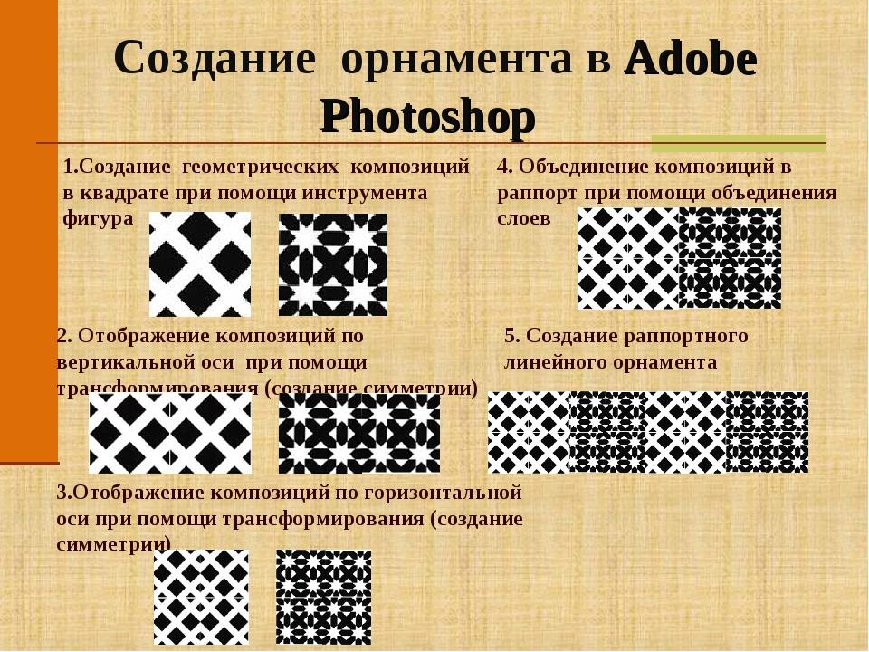 Создание орнамента в Adobe Photoshop 1.Создание геометрических композиций в к...