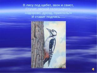 В лесу под щебет, звон и свист, Стучит лесной телеграфист. «Здорово, дрозд, п