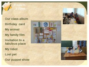 Our class album Birthday card My animal My family film Invitation to a fabulo