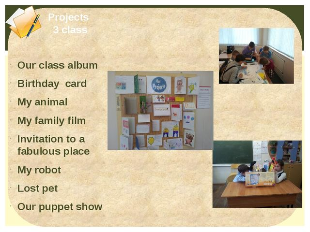 Our class album Birthday card My animal My family film Invitation to a fabulo...