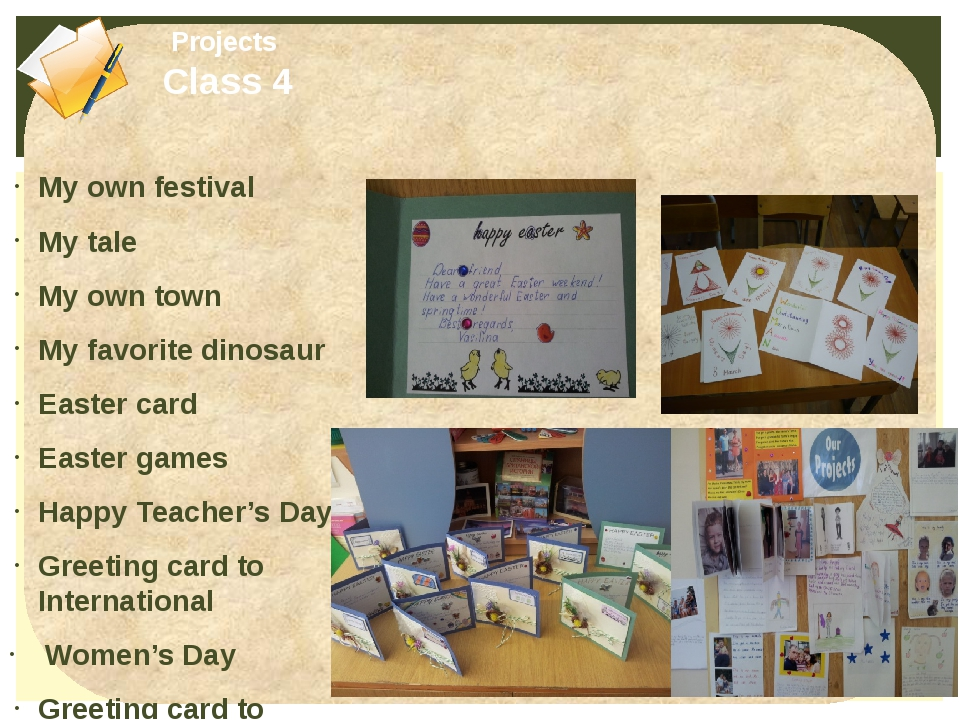 My own festival My tale My own town My favorite dinosaur Easter card Easter g...