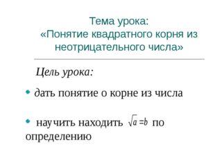 Тема урока: «Понятие квадратного корня из неотрицательного числа» Цель урока