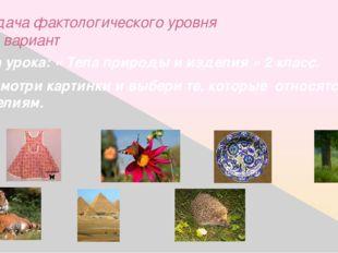 Задача фактологического уровня 1-й вариант Тема урока: « Тела природы и издел