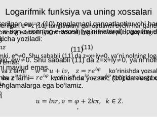 Logarifmik funksiya va uning xossalari