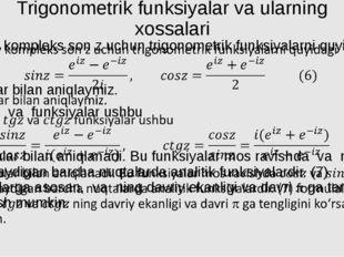 Trigonometrik funksiyalar va ularning xossalari