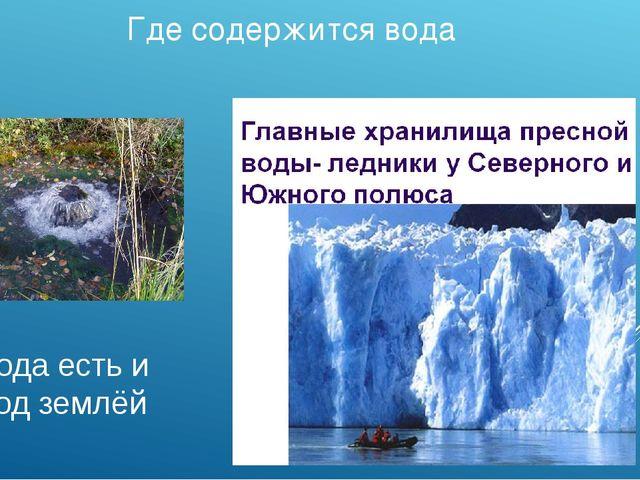 Где содержится вода Вода есть и под землёй