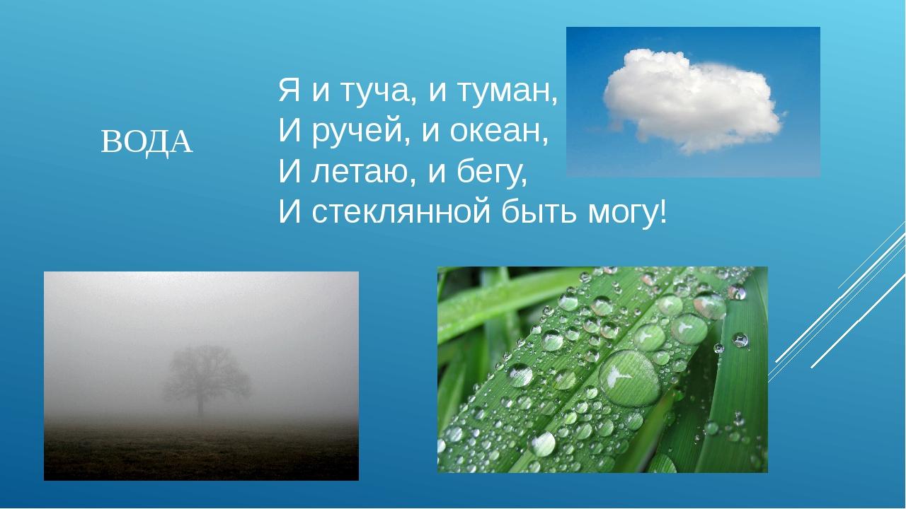 Я и туча, и туман, И ручей, и океан, И летаю, и бегу, И стеклянной быть могу!...
