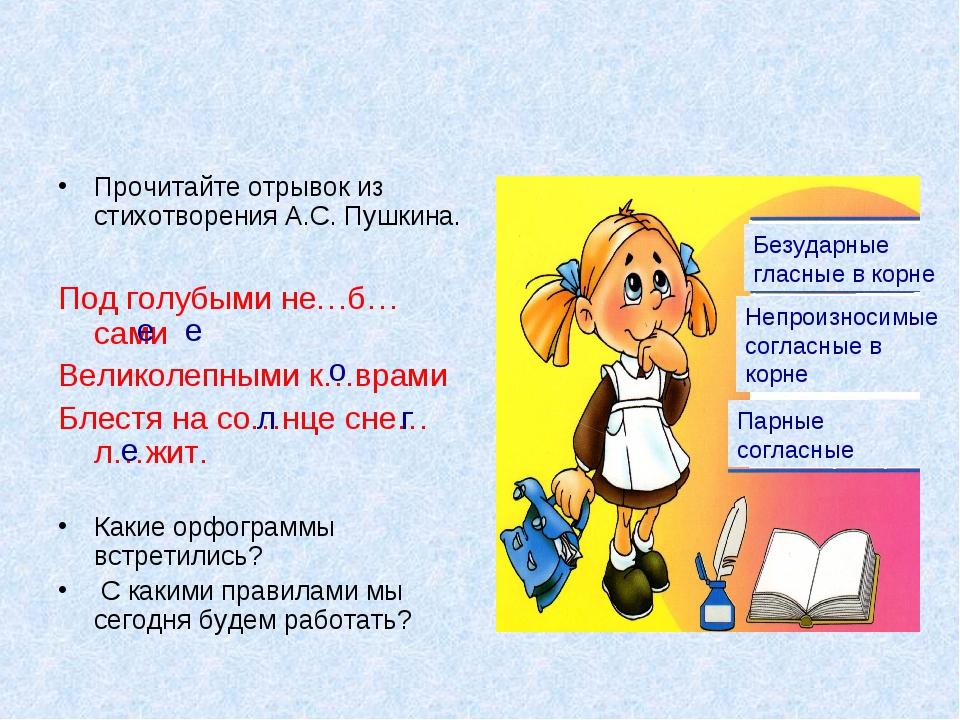 Прочитайте отрывок из стихотворения А.С. Пушкина. Под голубыми не…б…сами Вели...