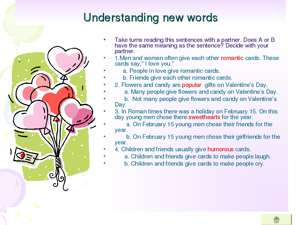 Understanding new words Take turns reading this sentences with a partner. Doe...