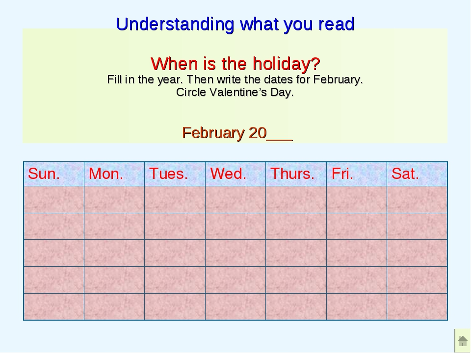 Understanding what you read When is the holiday? Fill in the year. Then write...