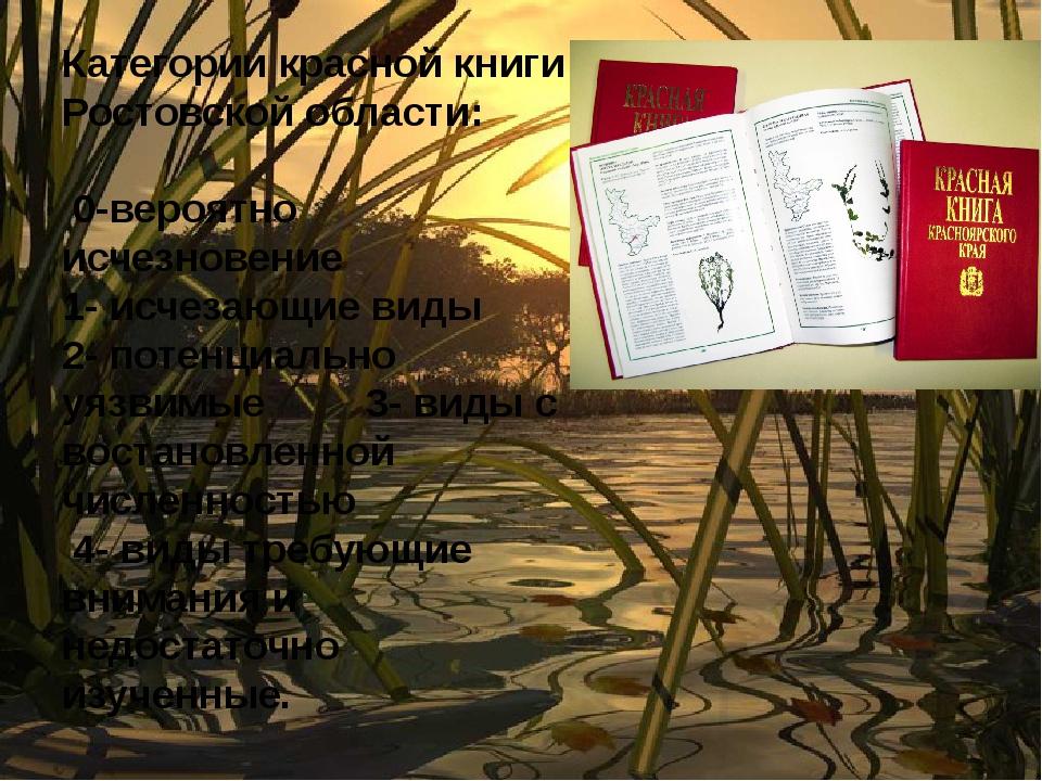 Категории красной книги Ростовской области: 0-вероятно исчезновение 1- исчеза...