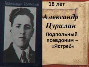 Александр Цурилин  18 лет Подпольный псевдоним – «Ястреб»