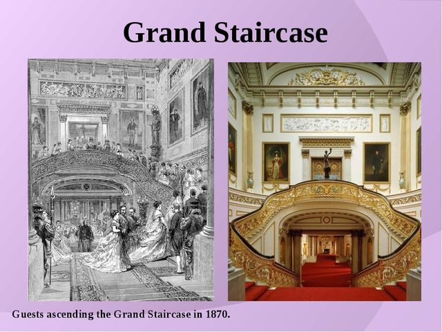 Guests ascending the Grand Staircase in 1870. Grand Staircase