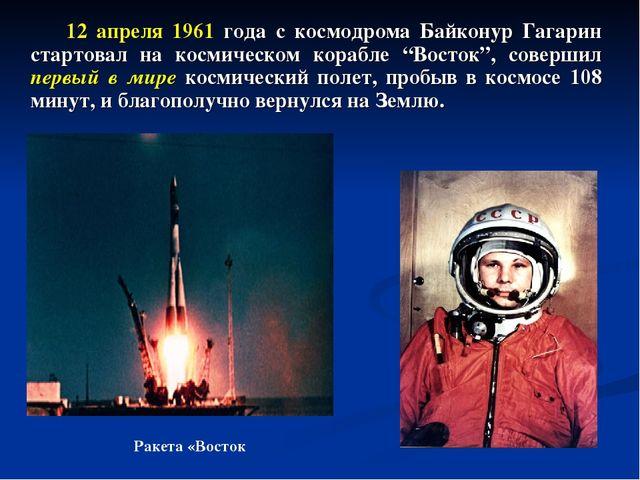 12 апреля 1961 года с космодрома Байконур Гагарин стартовал на космическом к...