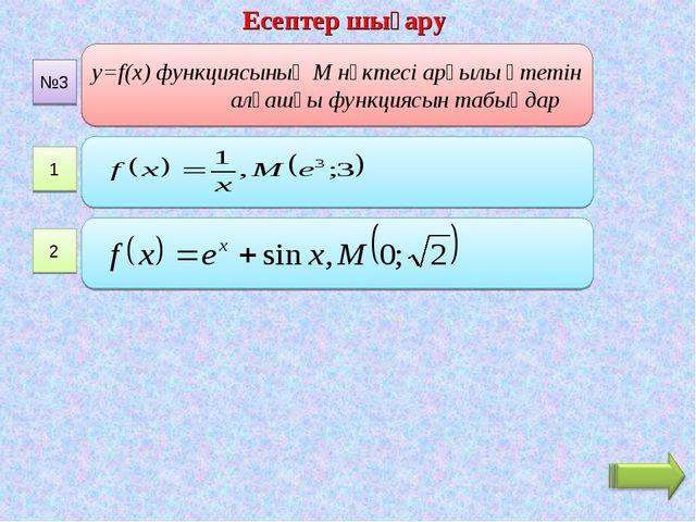 Есептер шығару 1 y=f(x) функциясының М нүктесі арқылы өтетін алғашқы функцияс...