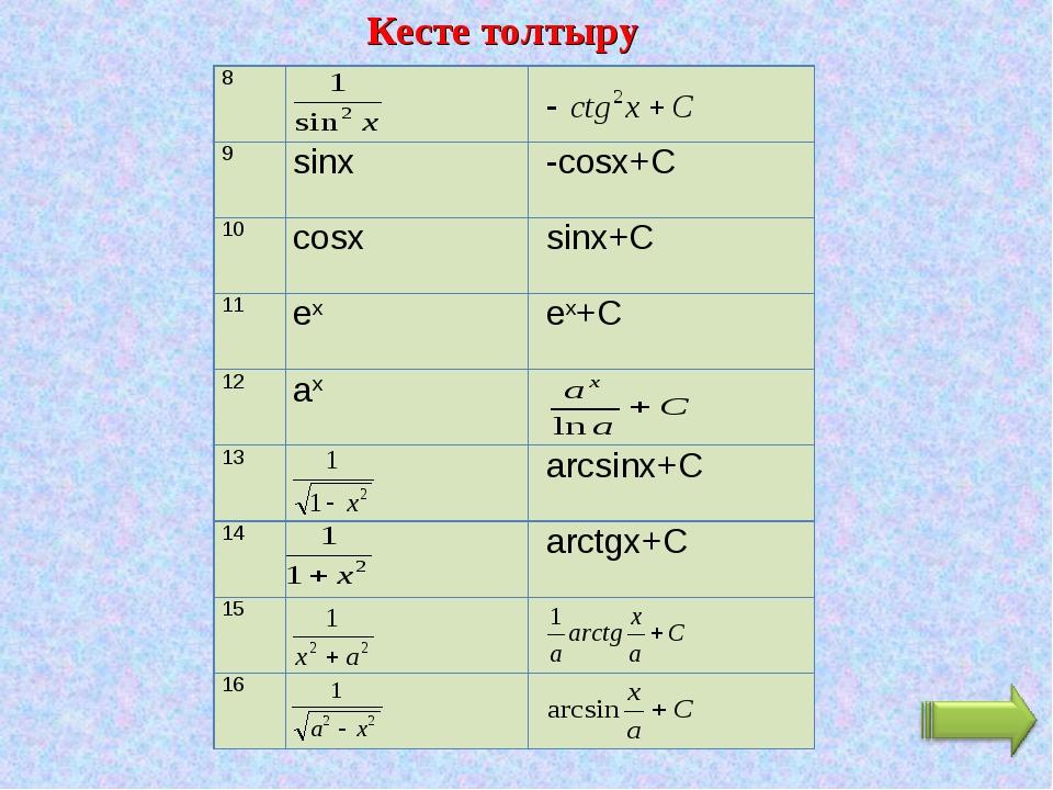 Кесте толтыру 8 9sinx -cosx+C 10cosx sinx+C 11ex ex+C 12ax 13 arc...