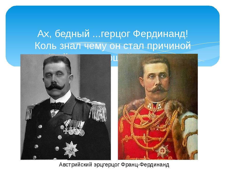 Ах, бедный ...герцог Фердинанд! Коль знал чему он стал причиной (Войны - зияю...
