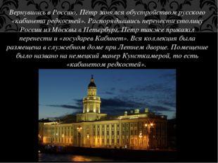 Вернувшись в Россию, Пётр занялся обустройством русского «кабинета редкостей»