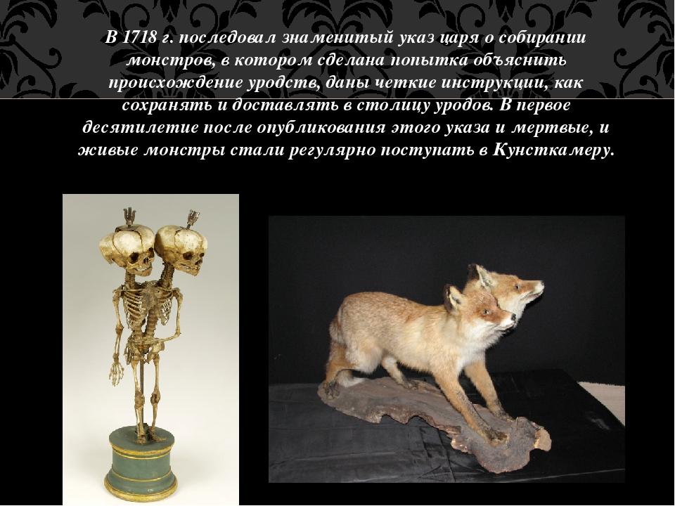 В1718 г. последовал знаменитый указ царя о собирании монстров, в котором сде...