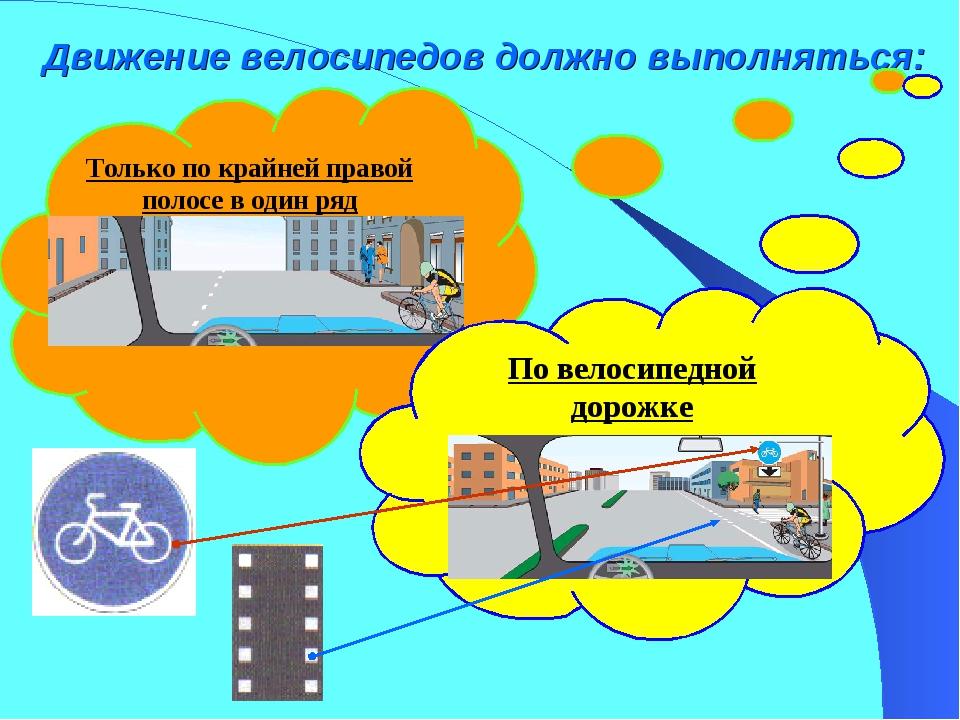 Движение велосипедов должно выполняться: Только по крайней правой полосе в од...