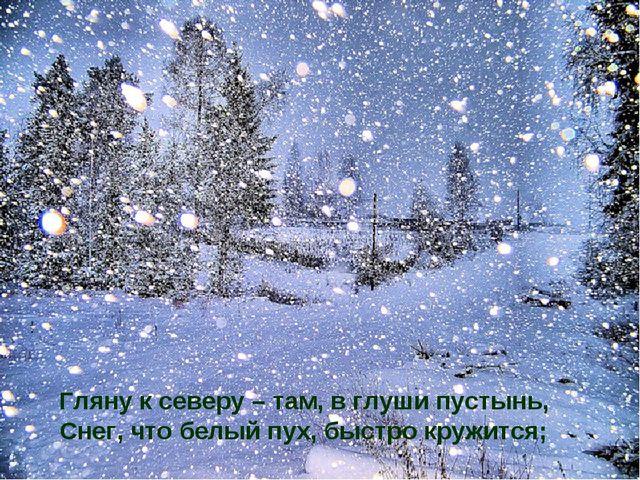 Гляну к северу – там, в глуши пустынь, Снег, что белый пух, быстро кружится;