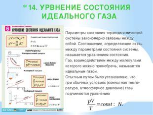 14. УРВНЕНИЕ СОСТОЯНИЯ ИДЕАЛЬНОГО ГАЗА Параметры состояния термодинамической