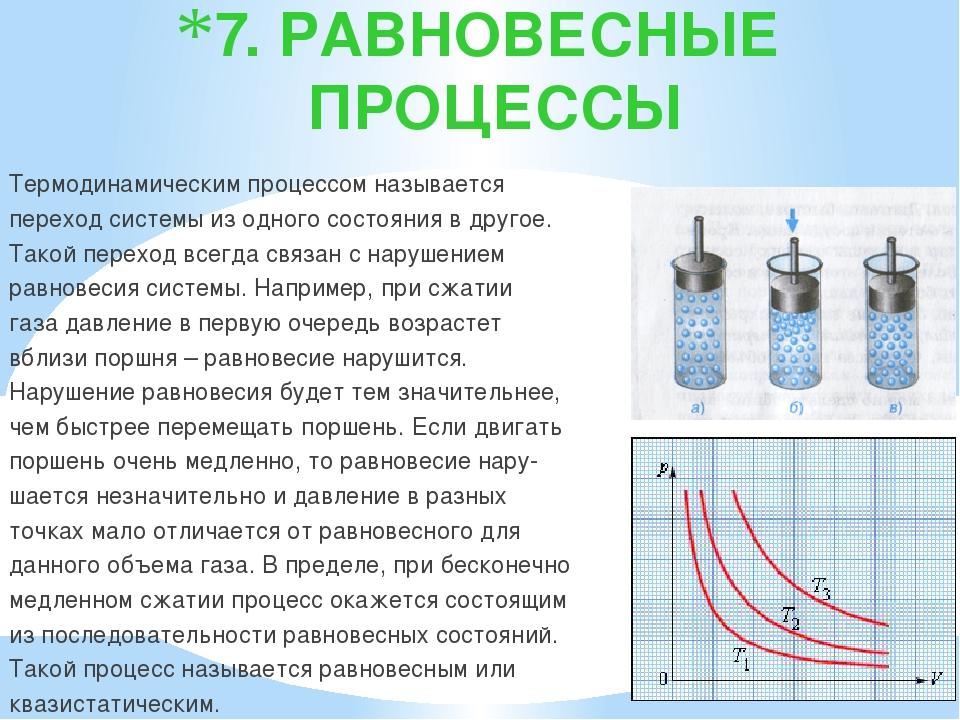7. РАВНОВЕСНЫЕ ПРОЦЕССЫ Термодинамическим процессом называется переход систем...