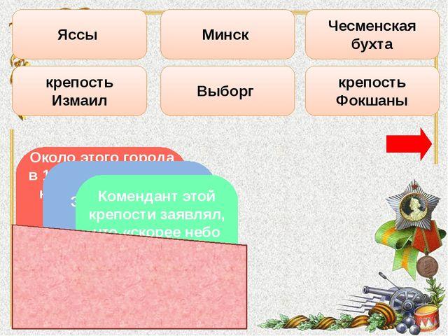 Выборг Чесменская бухта Минск Яссы крепость Измаил крепость Фокшаны Около это...