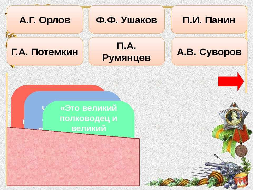 Г.А. Потемкин А.Г. Орлов Ф.Ф. Ушаков П.А. Румянцев А.В. Суворов П.И. Панин С...