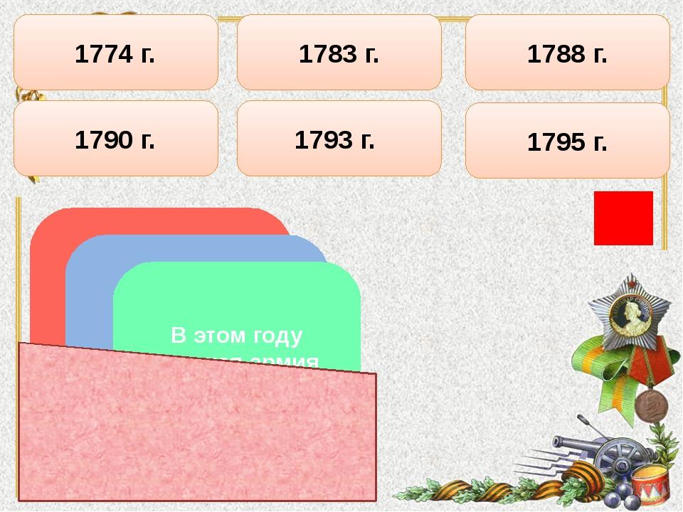 1795 г. 1790 г. 1774 г. 1783 г. 1788 г. 1793 г. В этом году к России отошли ч...