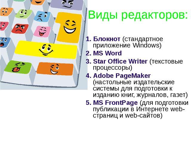 Виды редакторов: 1. Блокнот (стандартное приложение Windows) 2. MS Word 3. St...