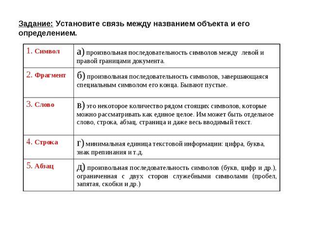 Задание: Установите связь между названием объекта и его определением. 1. Симв...