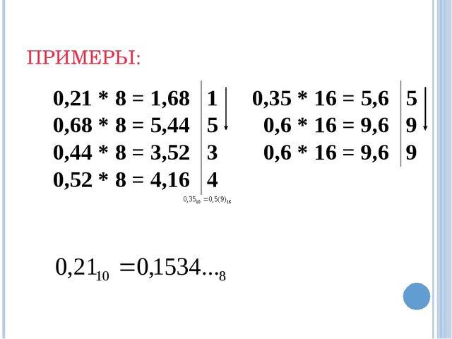 ПРИМЕРЫ: 0,21 * 8 = 1,68 1 0,68 * 8 = 5,44 5 0,44 * 8 = 3,52 3 0,52 * 8 = 4,1...