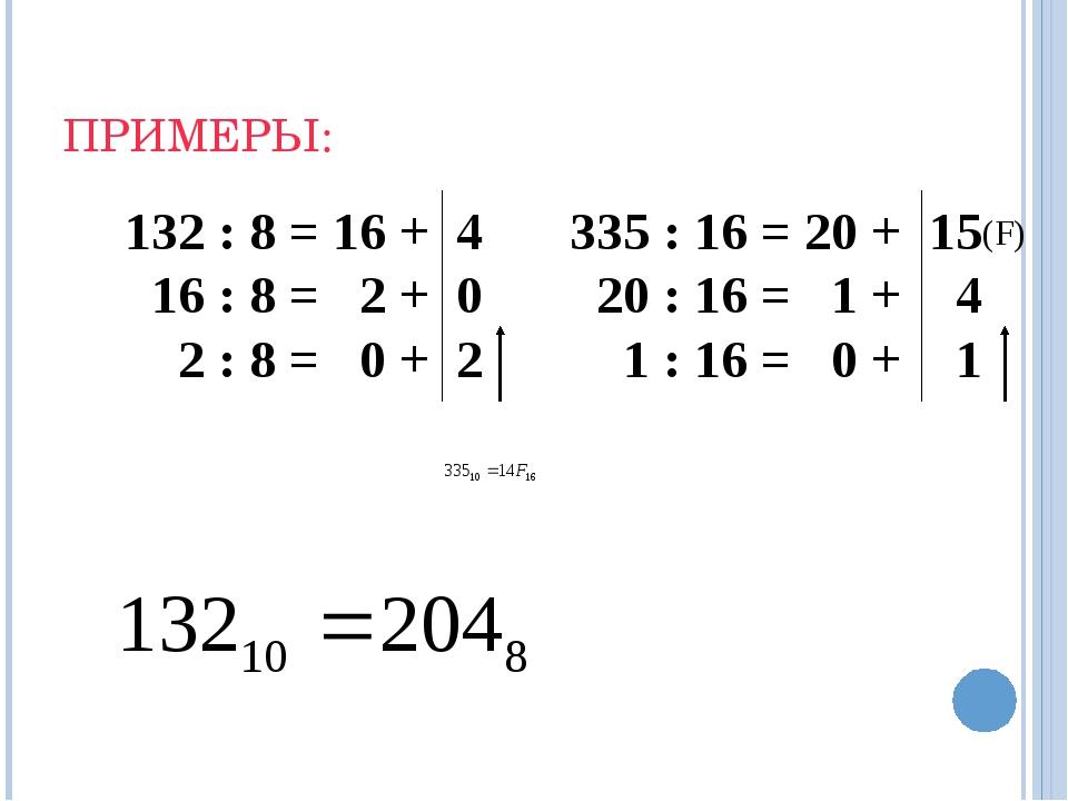 ПРИМЕРЫ: 335 : 16 = 20 + 15 20 : 16 = 1 + 4 1 : 16 = 0 + 1 (F)