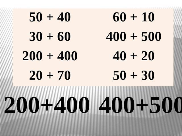200+400 400+500 50 + 40 60 + 10 30 + 60 400 + 500 200 + 400 40 + 20 20 + 70 5...