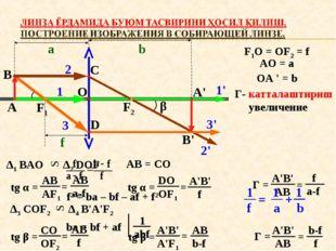 А В F1 F2 O C D α β A' B' 1 1' 2 2' 3 3' a b f F1O = OF2 = f AO = a OA ' = b